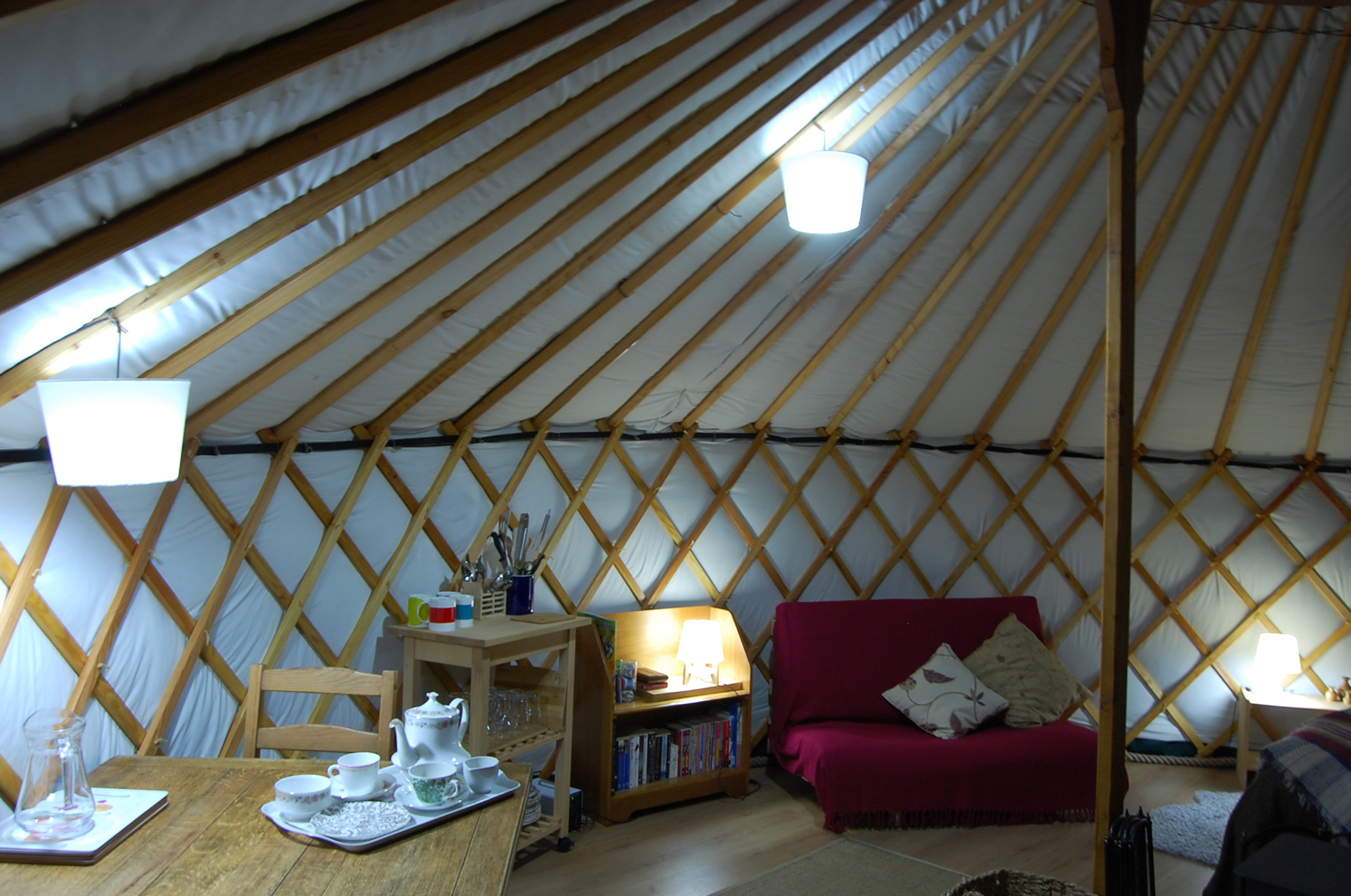 the yurts contain 4 solar powered lights